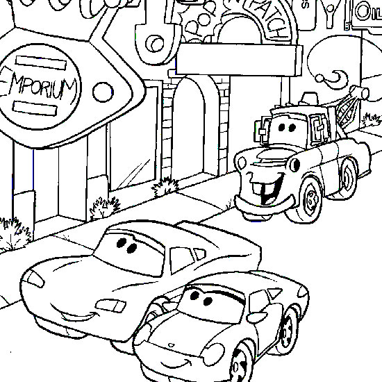 Plansa de colorat cu McQueen si Sally