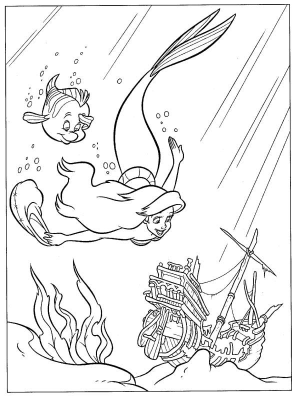 Ariel si epava din ocean