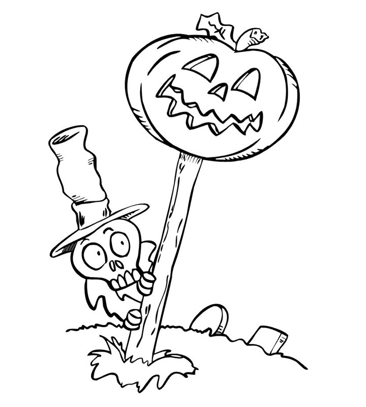 Dovleacul si craniul de Halloween