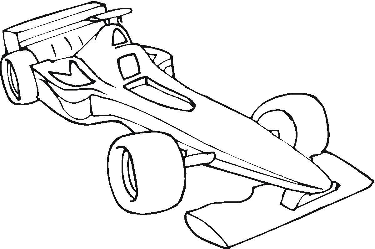 Plansa de colorat cu o masina Formula One