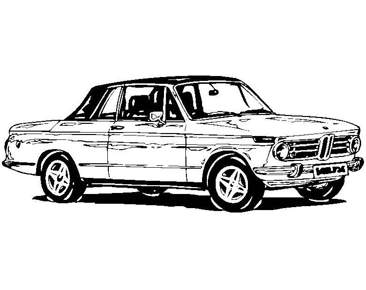 Plansa de colorat cu o masina veche BMW