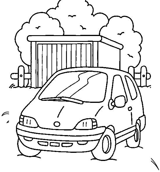 Plansa de colorat cu o masina micuta