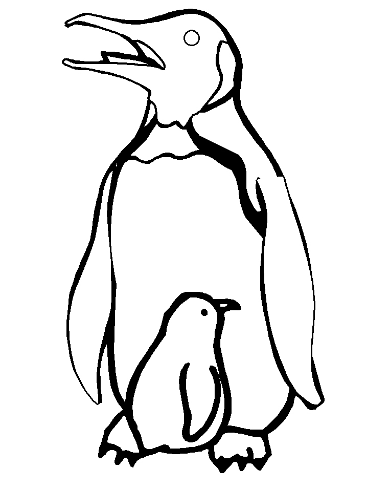 Plansa de colorat cu un pinguin cu pui
