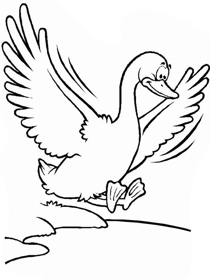 Plansa de colorat cu o gasca care zboara