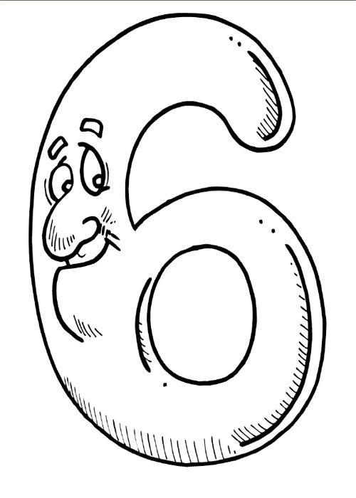Numarul 6 de colorat