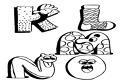 Coloreaza literele K, L, M, N, O