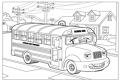 Plansa de colorat cu un autobuz