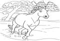 Plansa de colorat cu un cal galopand