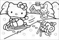 Hello Kitty iarna pe sanie