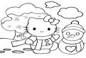 Hello Kitty si Omul de Zpada de colorat