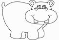 Plansa de colorat cu un hipopotam