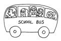 Plansa de colorat cu masina scolii