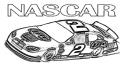 Plansa de colorat cu o masina din intrecerea Nascar