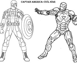 Captain America vs Iron Man de colorat