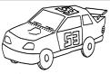 Plansa de colorat cu masina de raliu